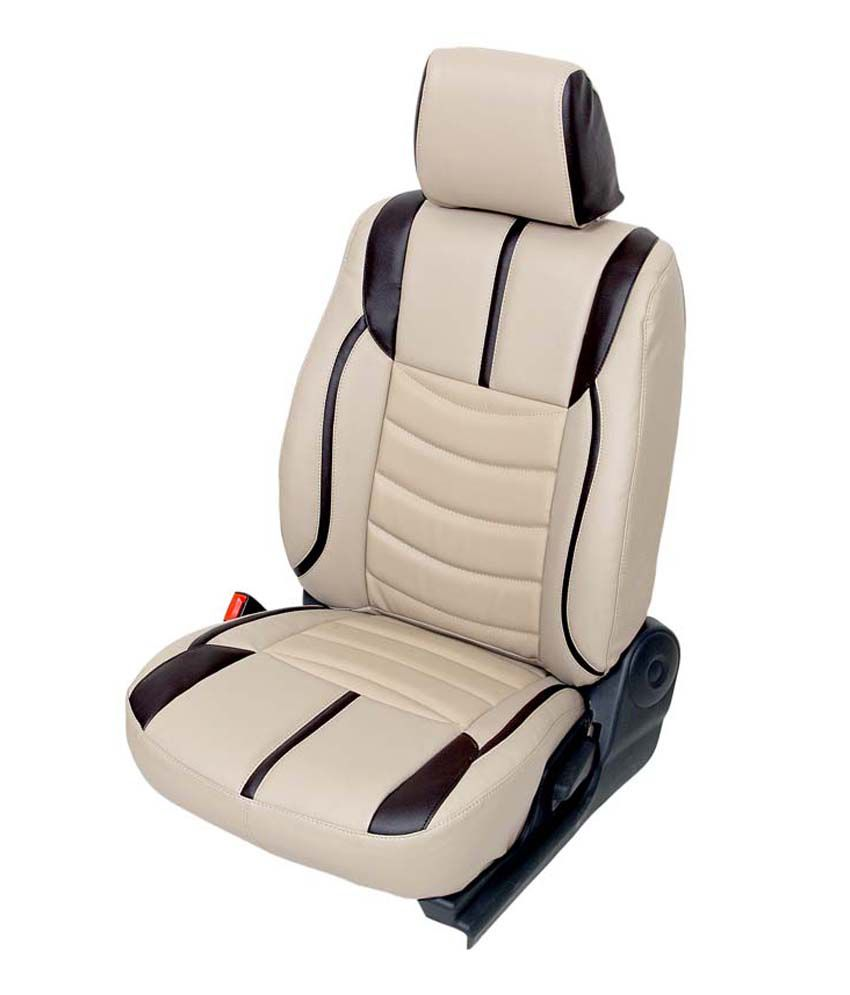 Beige Cream Leather Look Car Seat Covers Velcromag
