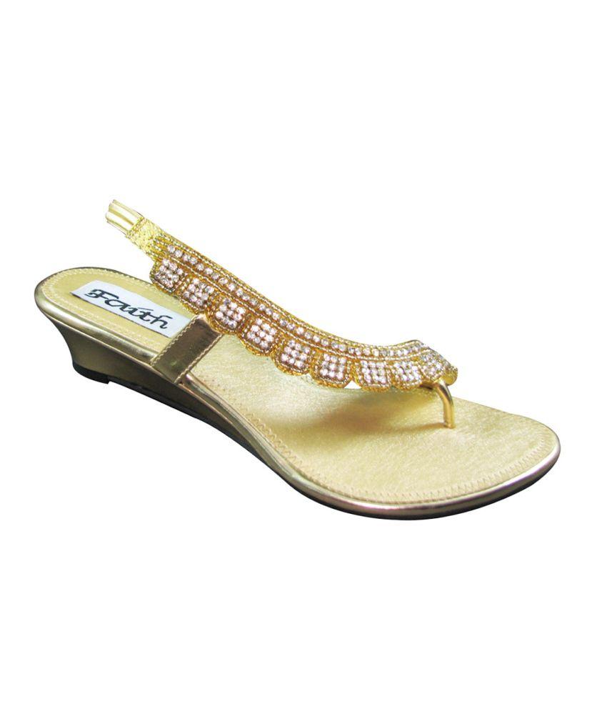 Faith Faux Leather Gold Women Sandal