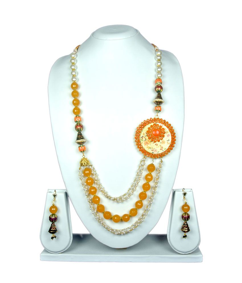 Osas Orange Contemporary Necklace Set
