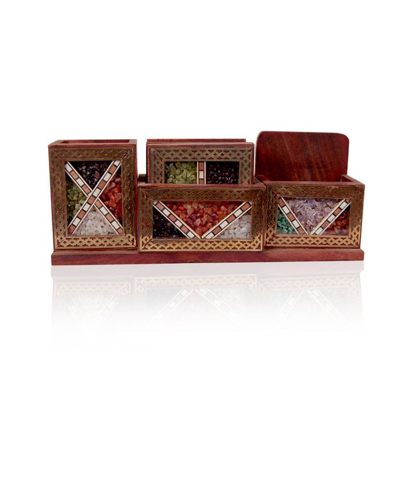 Rajwada Arts Gemstone Office Set With Brass Beading