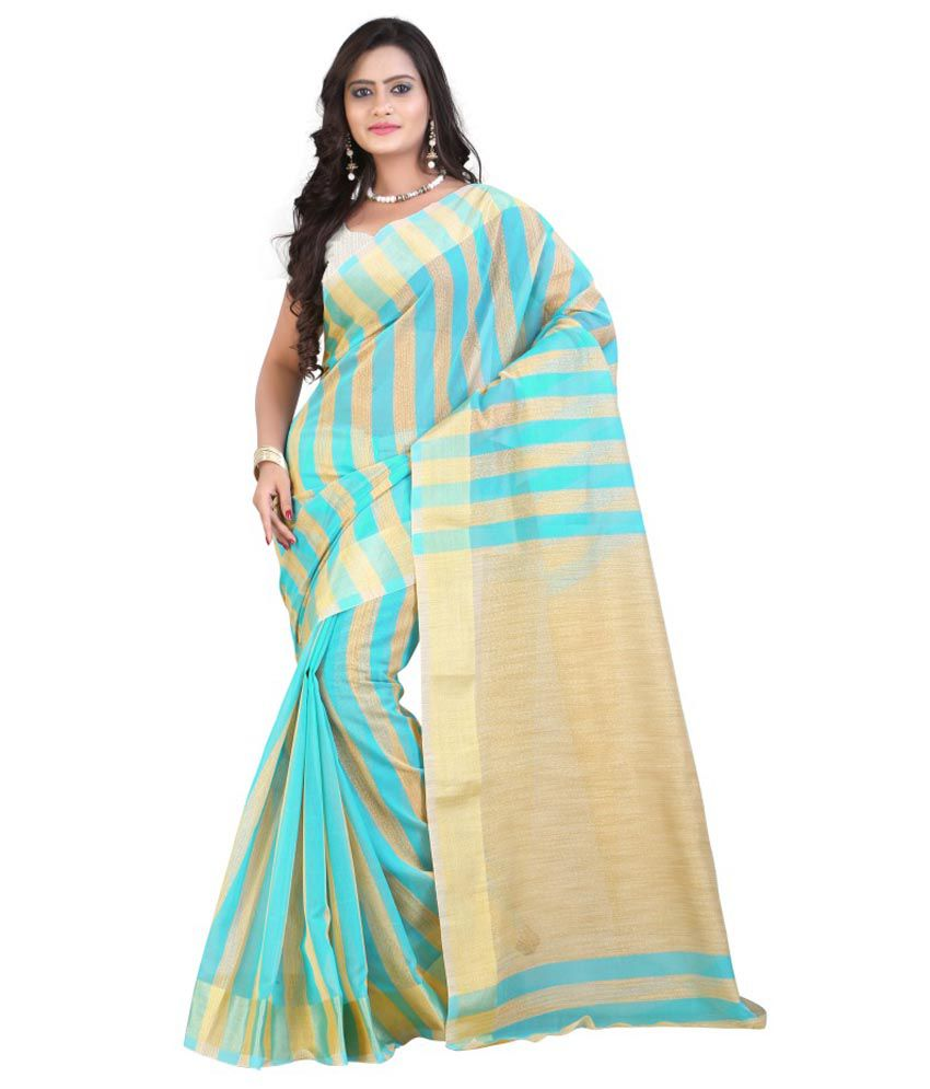 657d4611f Mimosa Blue and Beige Banarasi Cotton Saree - Buy Mimosa Blue and Beige Banarasi  Cotton Saree Online at Low Price - Snapdeal.com
