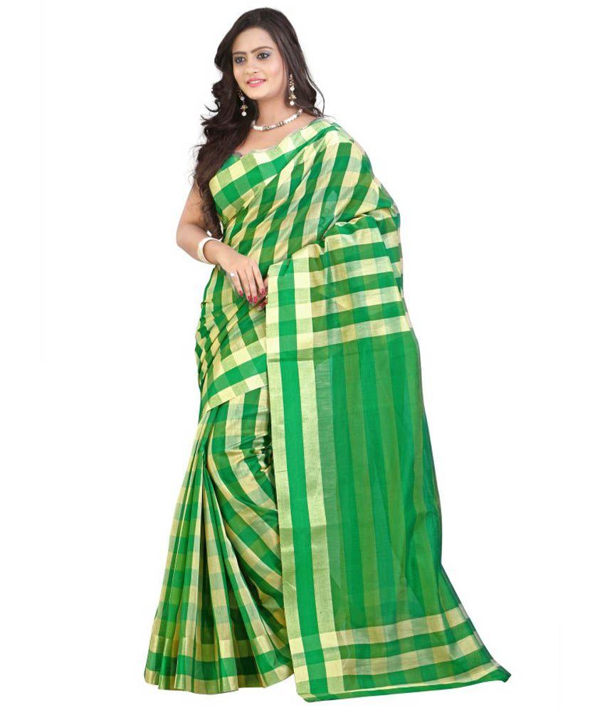 668c3761e 38% OFF on Mimosa Green Banarasi Cotton Silk Saree on Snapdeal ...