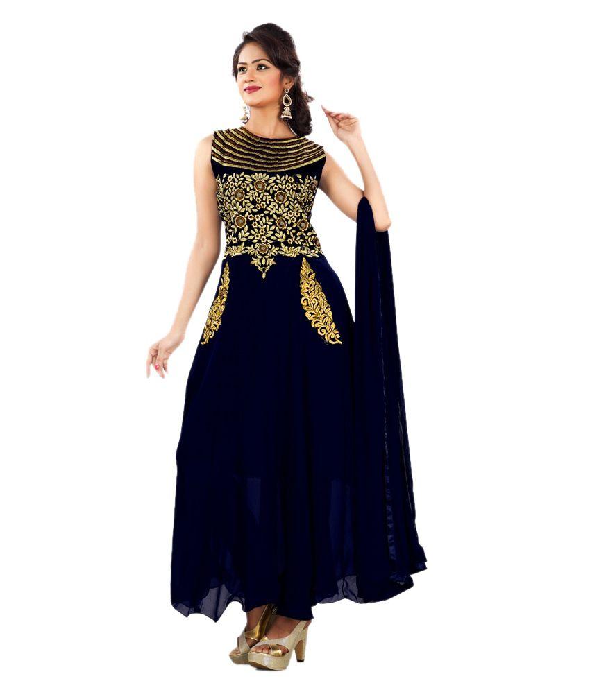 Priyanshu Creation Salwar Suit Semi Stitched Suit-Dark Blue