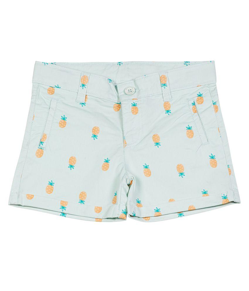 UCB  Aqua Printed Shorts For Kids