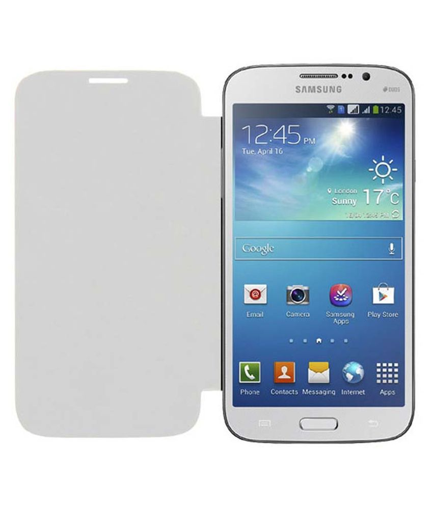 Acm Flip Case for Samsung Galaxy Mega 5.8 I9150 I9152 Mobile Front & Back Flap Folio Cover - White