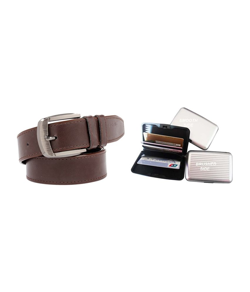 Fedrigo Brown Casual Shine Belt with Card Wallet - Combo