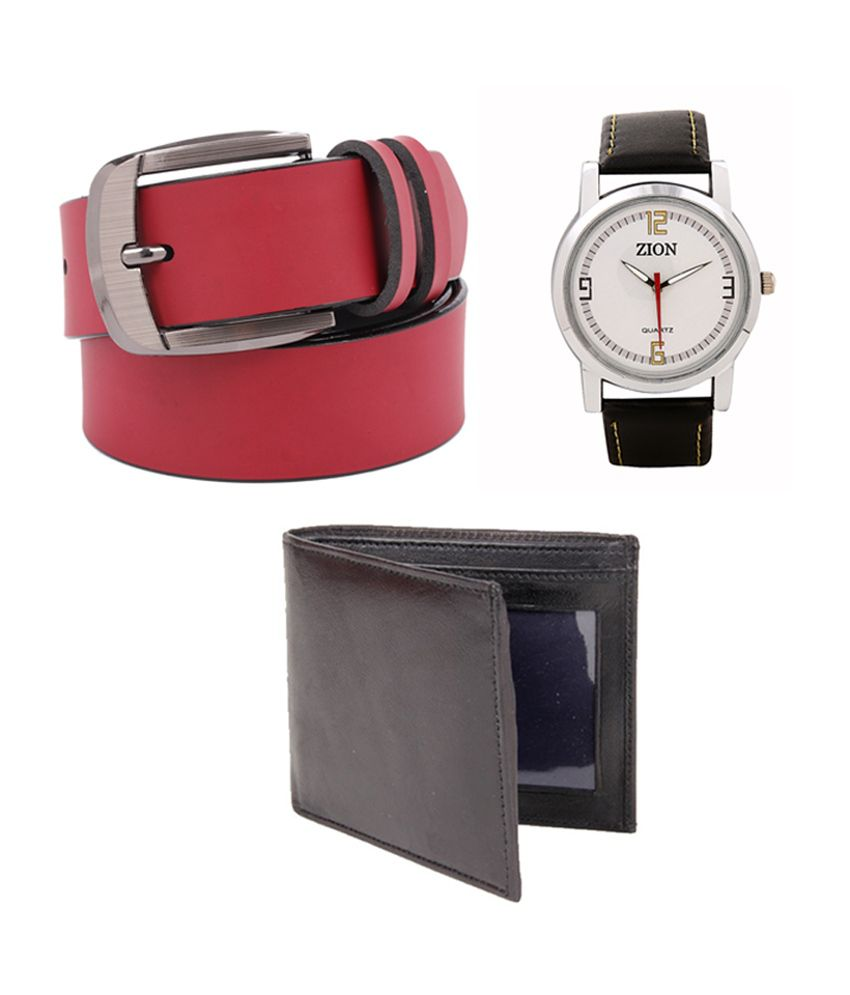 Fedrigo Red Casual Belt with Wallet & Zion White Dial Watch - Combo