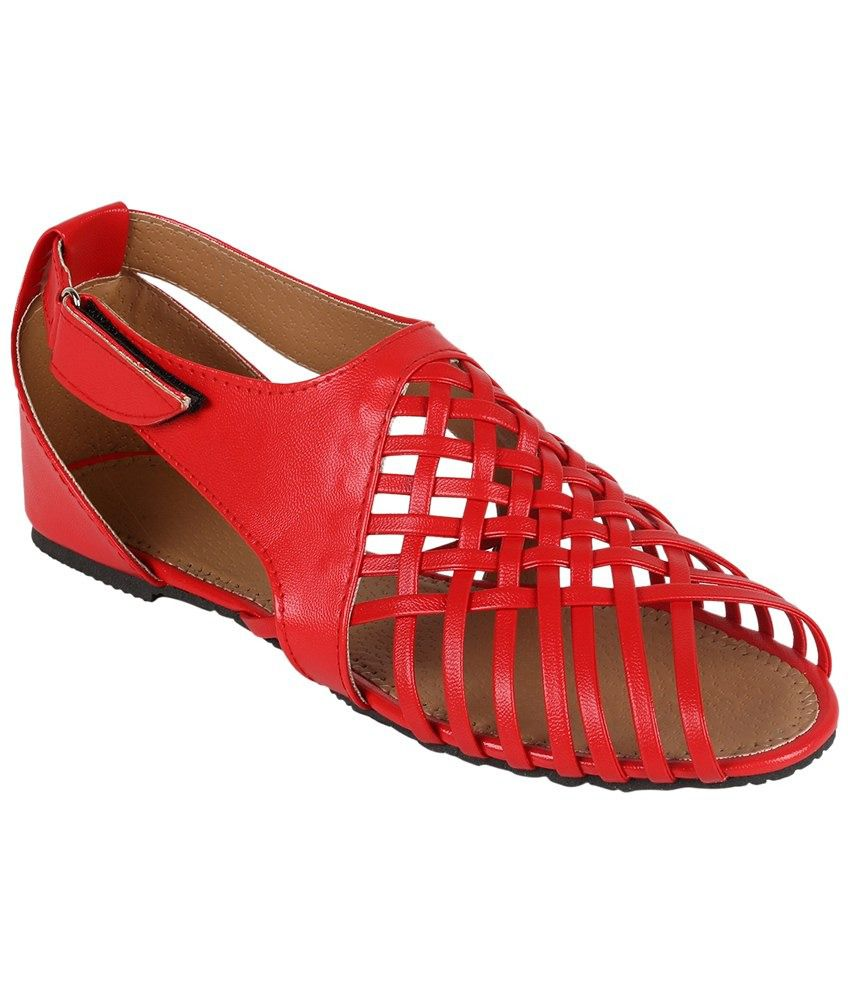 Shoe Mate Red Faux Leather Sandals