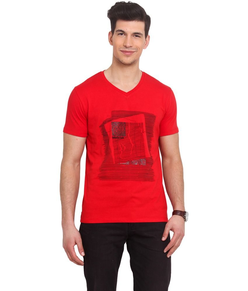 Smokestack Red Cotton V-Neck Half Sleeves T-Shirt