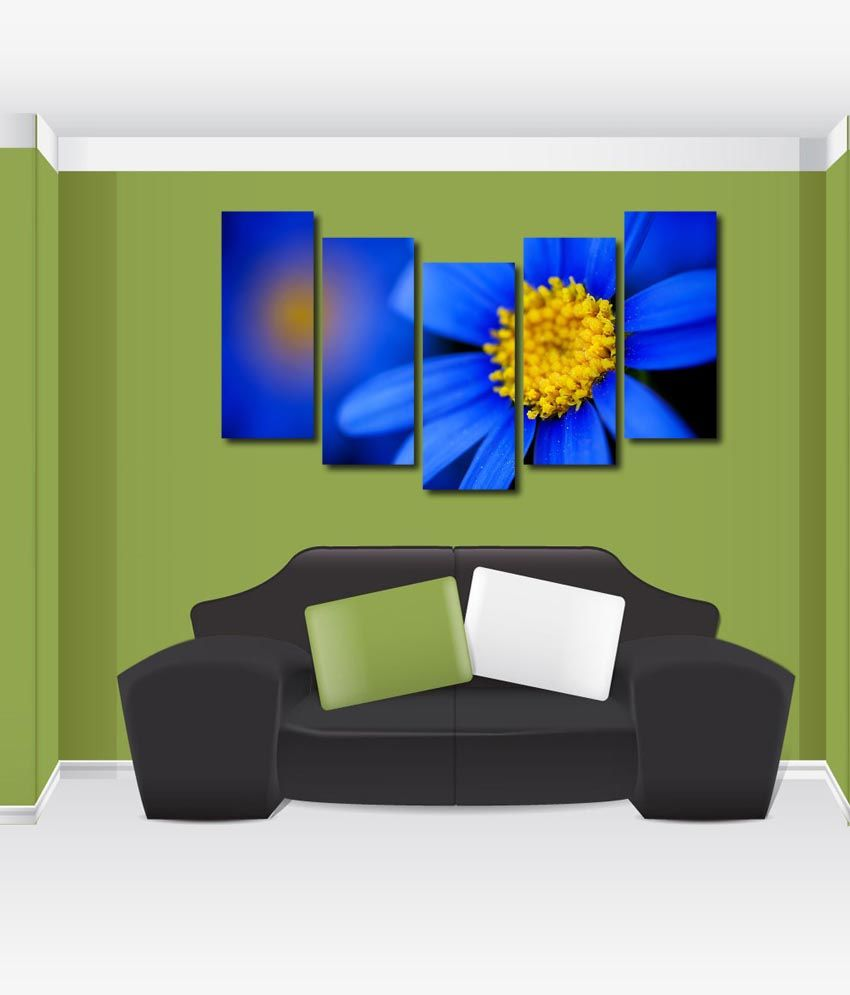 999store Glossy Printed Blue Flower Like Modern Wall Art Painting With Frame - 5 Frames