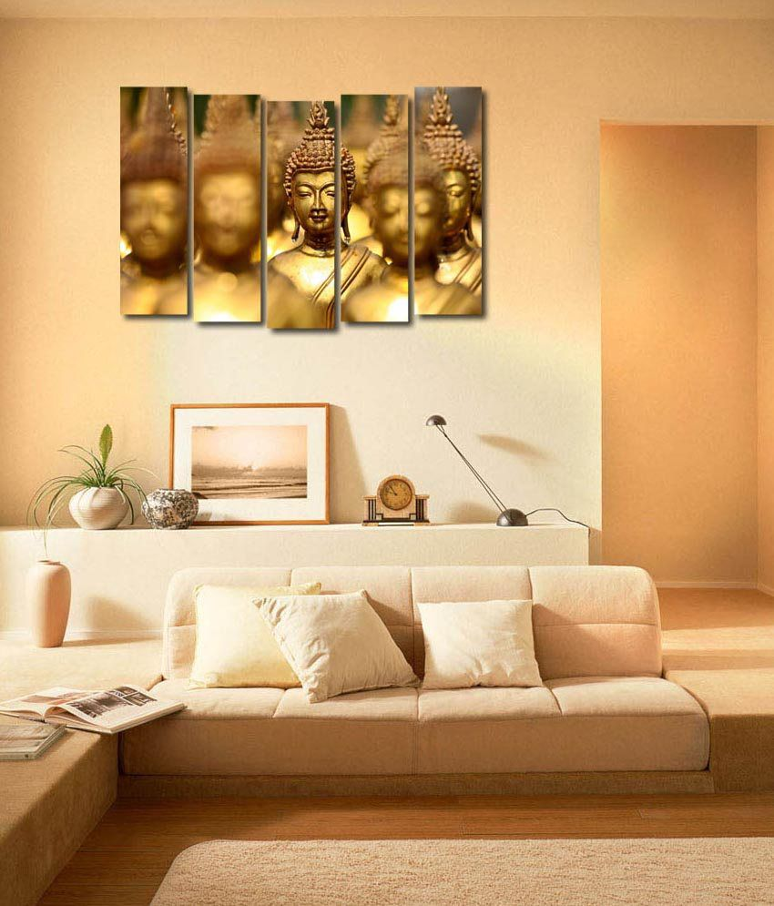 999store Glossy Printed Buddha Like Modern Wall Art Painting With Frame - 5 Frames