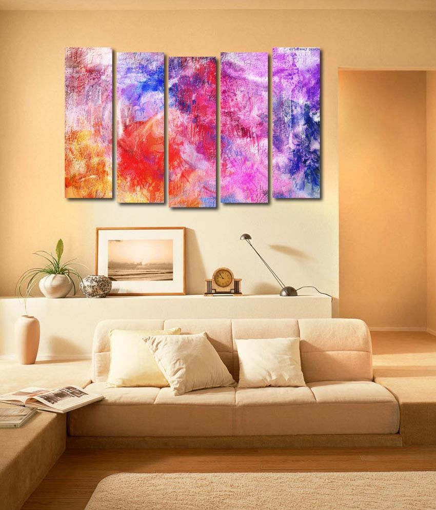 999store Glossy Printed Colouful Designs Like Modern Wall Art Painting With Frame - 5 Frames