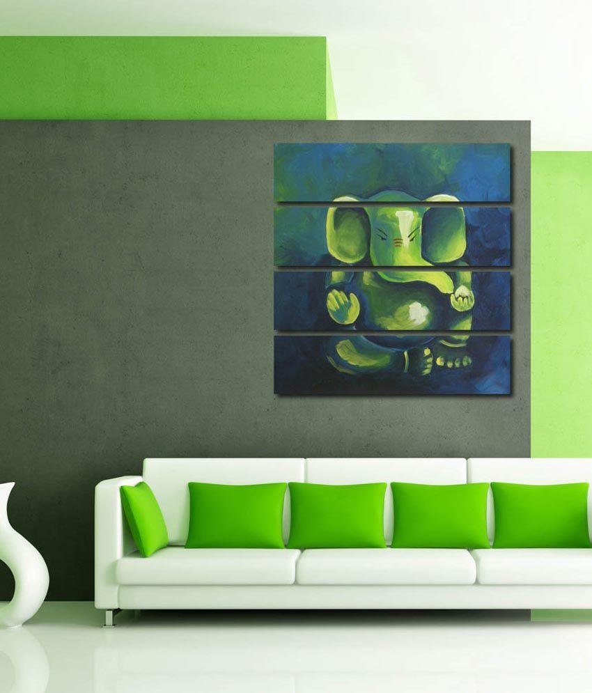 999store Glossy Printed Ganesha Like Modern Wall Art Painting With Frame