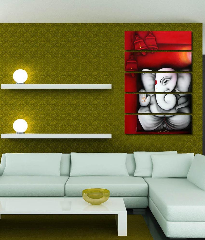 999store Glossy Printed Ganesha Like Modern Wall Art Painting With Frame - 5 Frames