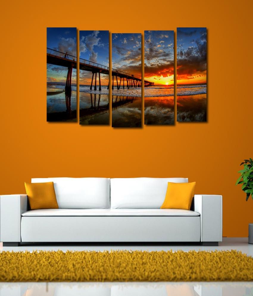 999store Glossy Printed Sea Bridge Like Modern Wall Art Painting With Frame - 5 Frames
