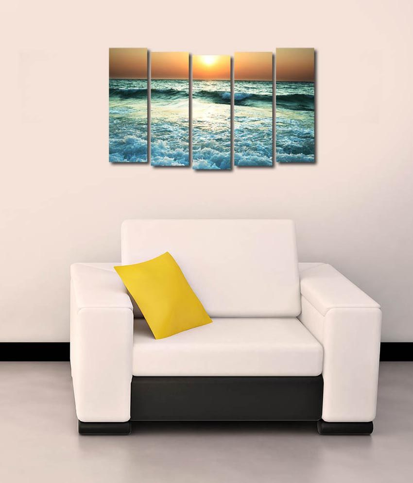 999store Glossy Printed Sea Like Modern Wall Art Painting With Frame - 5 Frames