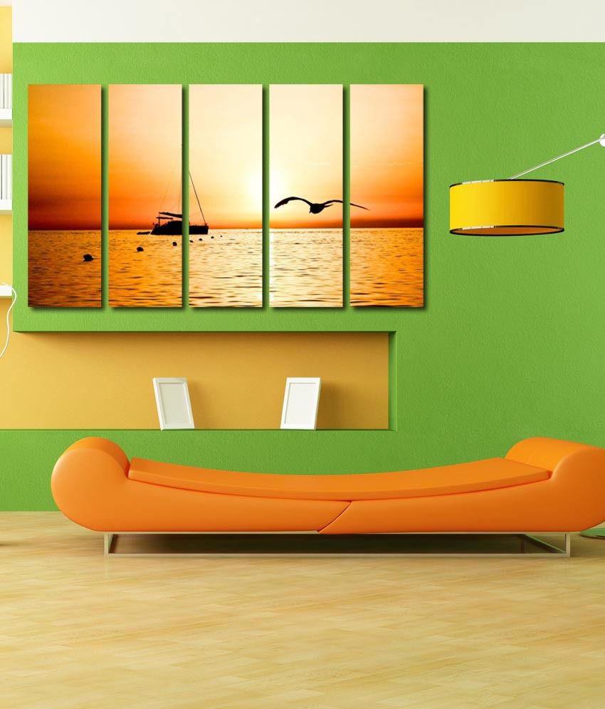 999store Glossy Printed Ship In The Sea Like Modern Wall Art Painting With Frame - 5 Frames