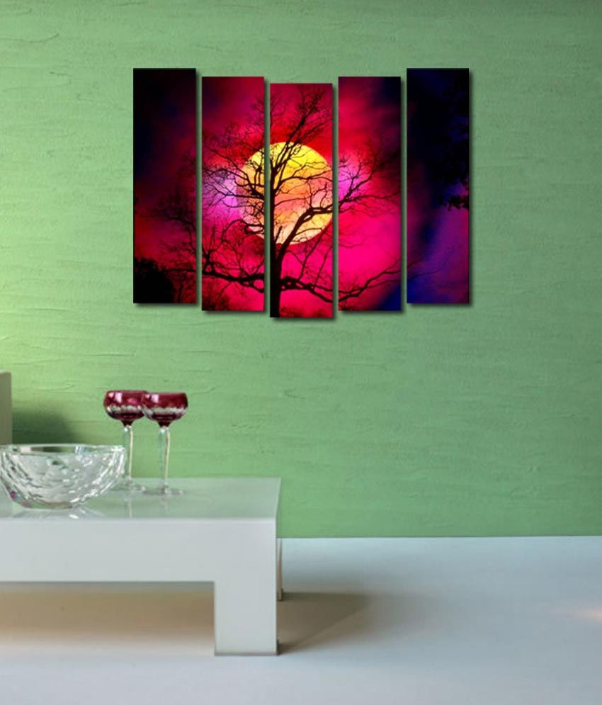 999store Glossy Printed Tree Like Modern Wall Art Painting With Frame - 5 Frames