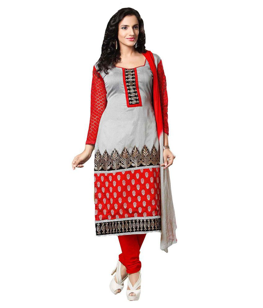 Angel Regular long straight Semi-Stitched Salwar Suit - Gray