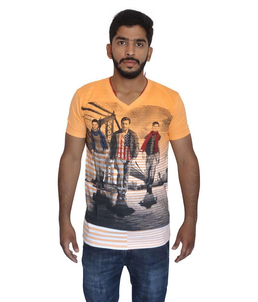 Blend Orange Cotton V-Neck Printed T-Shirt
