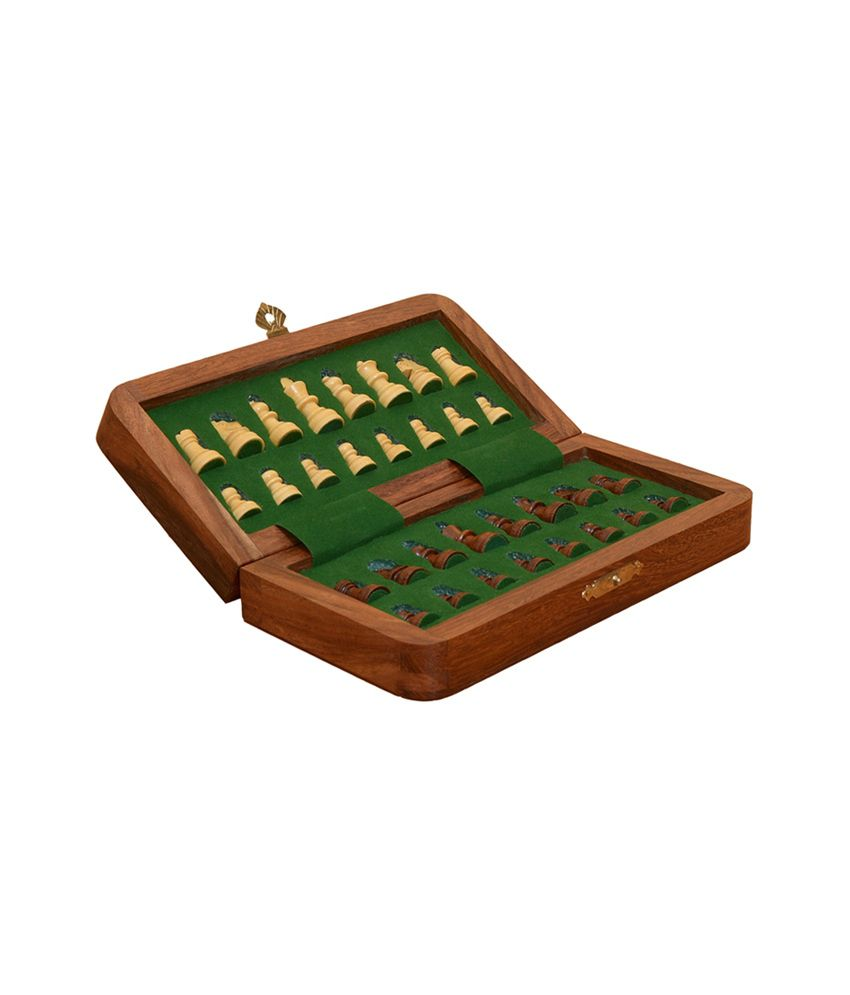 Chessbazaar Travel Series Folding Magnetic Chess Set Sheesham And Box Wood - 7 Inches