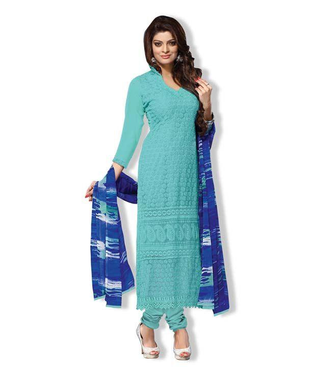 Fabfiza blue georgette Embroidered Designer Semi Stitched Suit churidar Suit