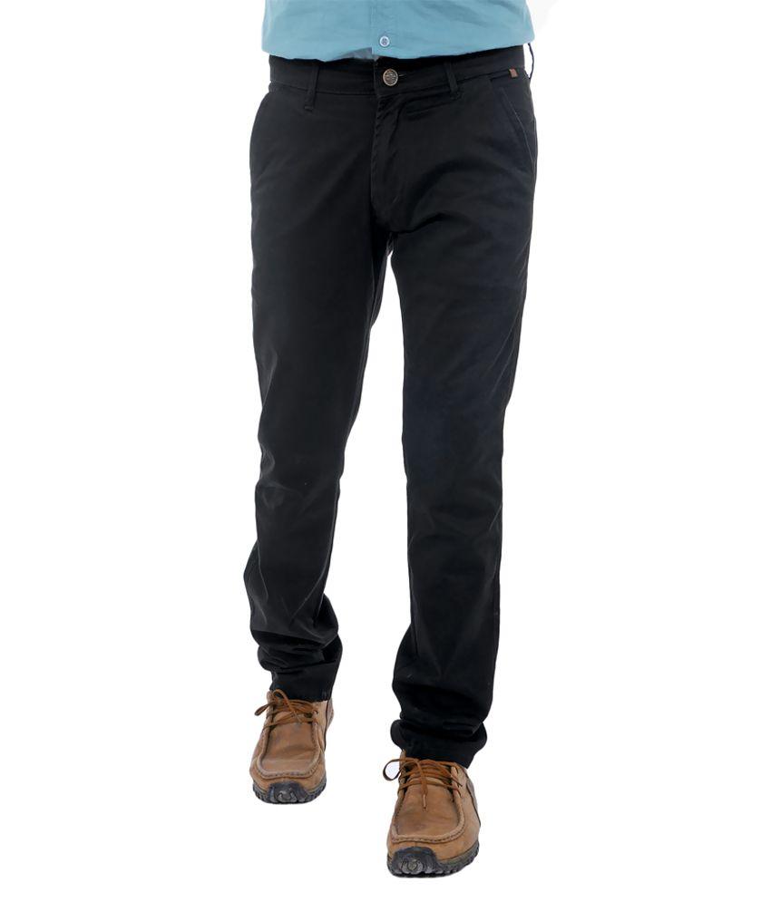 Unison Black Cotton Lycra Casual Trouser