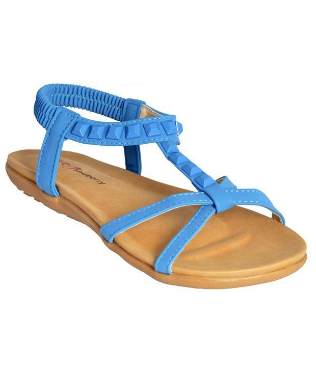 Shuberry Lite Blue Flat Sandals