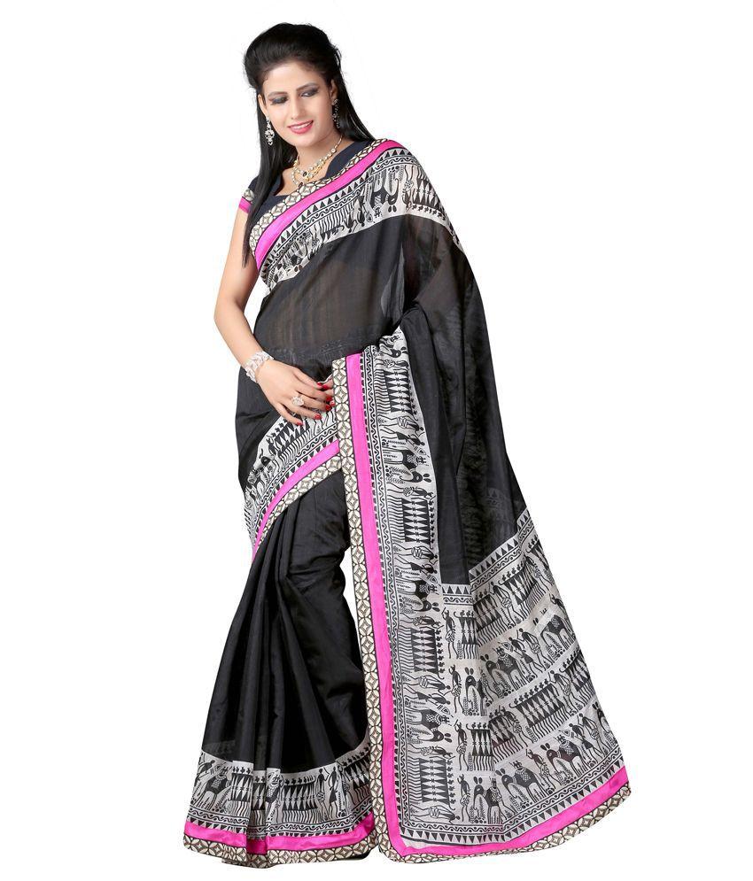 A 1 Creatiom Bhagalpuri Silk Border Work Saree With Blouse Piece