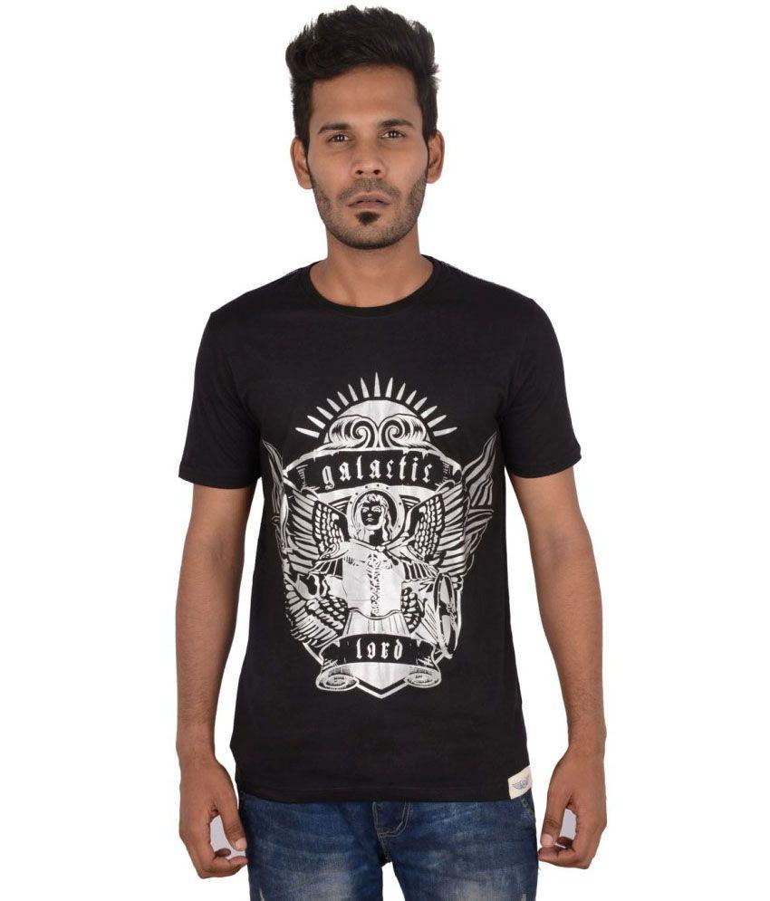 A.u. Galactic Black Cotton Round Neck Half Sleeves Men T-shirt