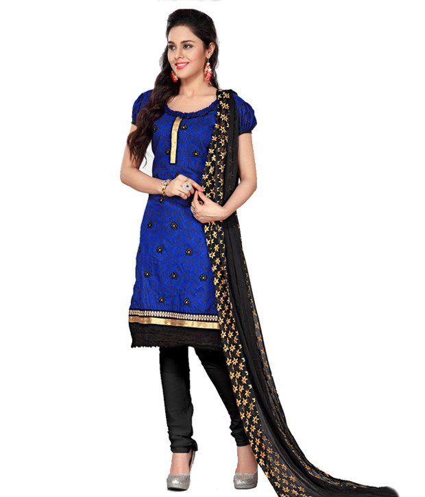 Pricebet Blue Chanderi Cotton Silk Straight Fit Regular Dress Material
