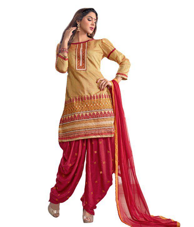 1e5be22f5a Pricebet Gold Chanderi Cotton Silk Patiala Dress Material - Buy Pricebet  Gold Chanderi Cotton Silk Patiala