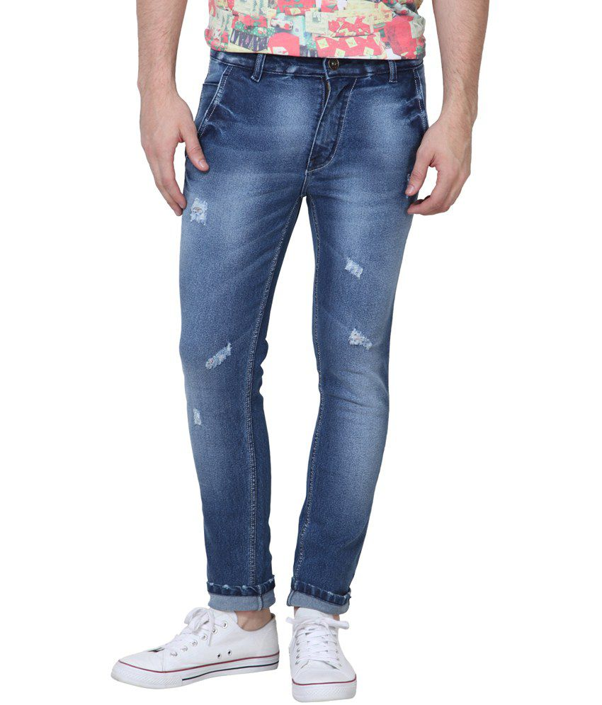 Super-x Blue Cotton Faded Skinny Fit Jeans