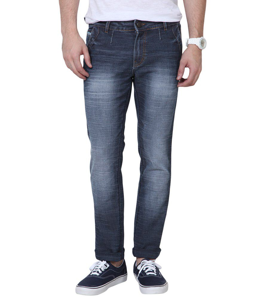 Super-x Gray Cotton Faded Skinny Fit Jeans
