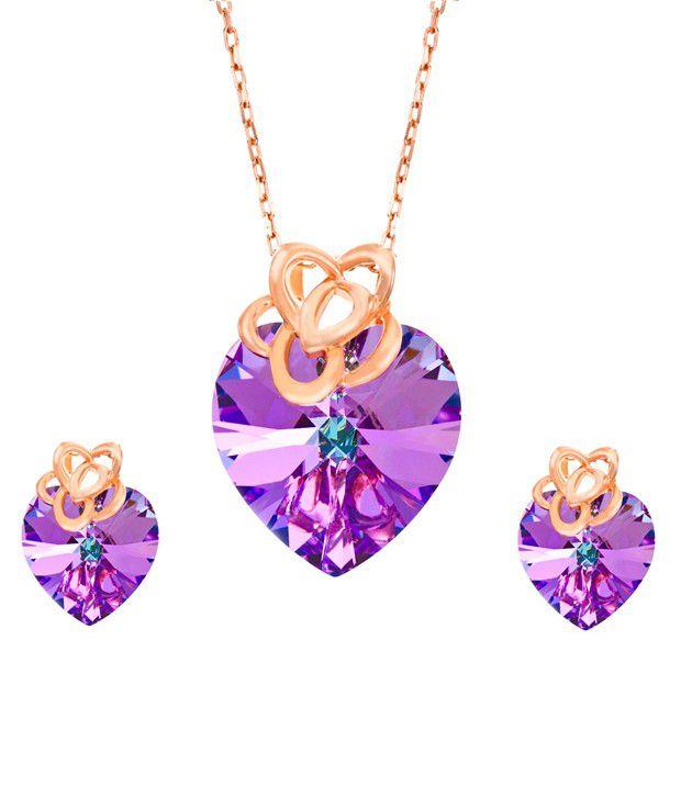 08be7916e9e5 Yellow Chimes Swarovski Elements Purple Heart Crystal 925 Silver Princess  Flower Crowned Designer Jewellery Set  Buy Yellow Chimes Swarovski Elements  Purple ...
