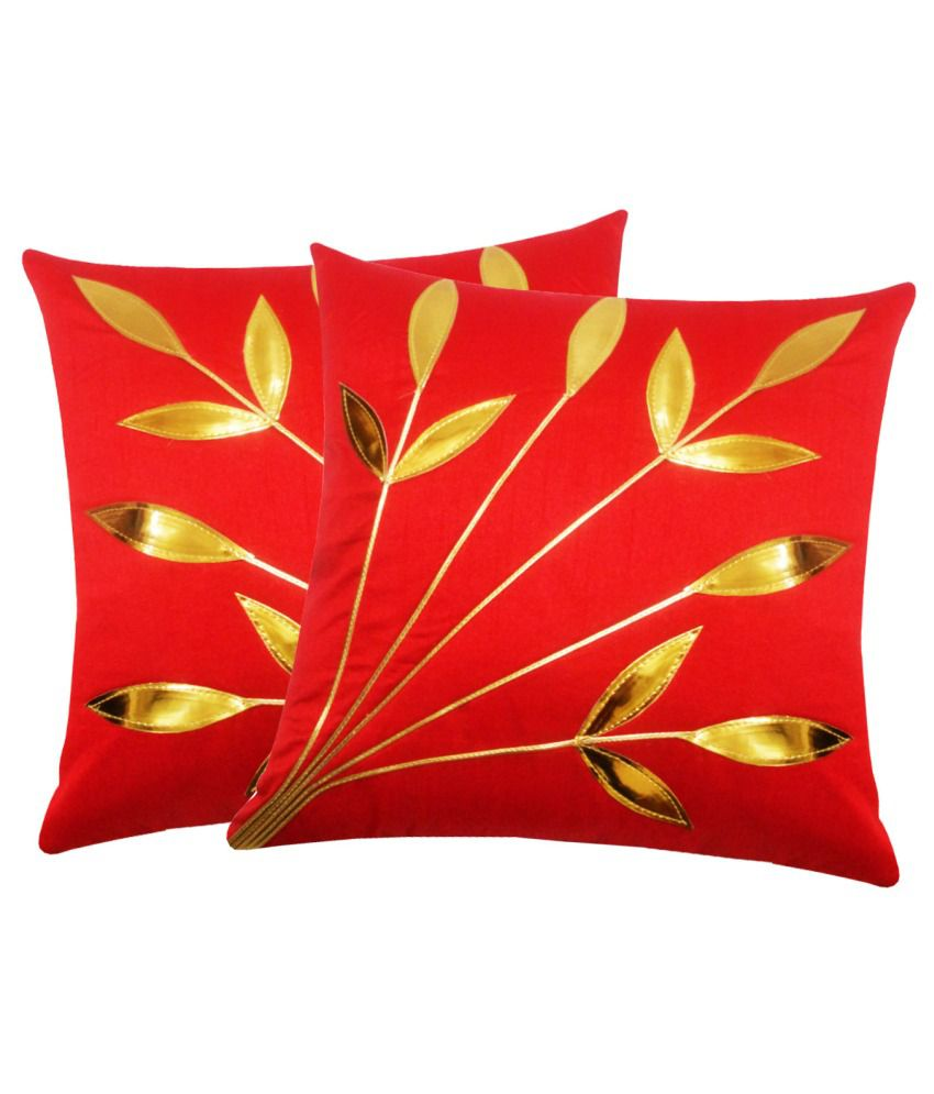 Zikrak Exim Set of 2 Polyester Cushion Covers 40X40 cm (16X16)