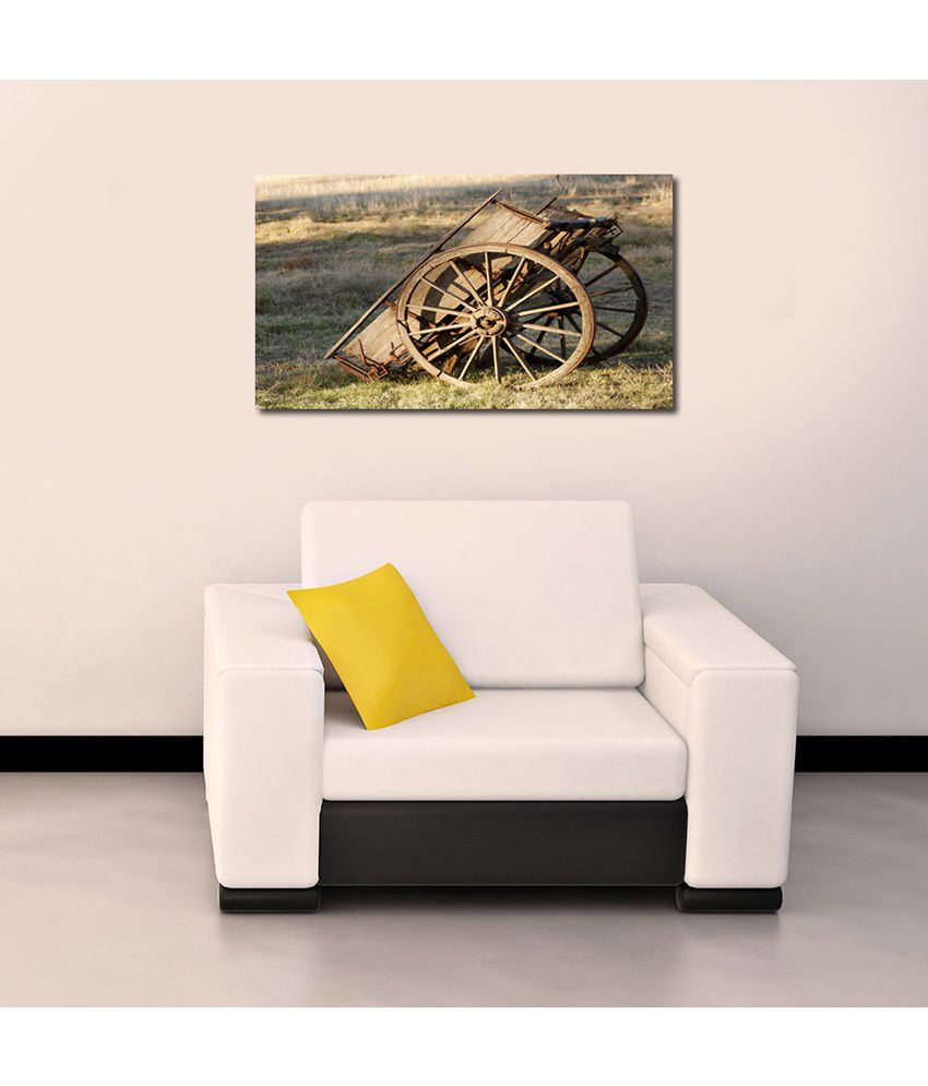 999Store Bullock Cart Printed Modern Wall Art Painting - Large Size