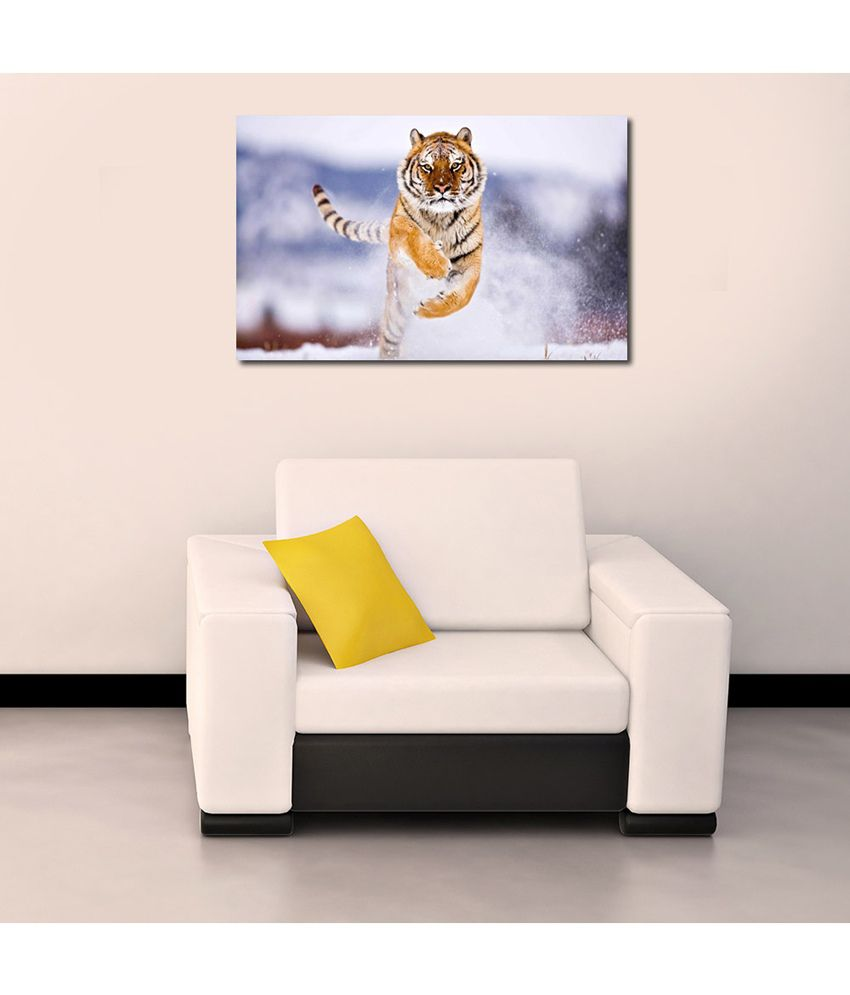 999Store Running Tiger Printed Modern Wall Art Painting - Large Size
