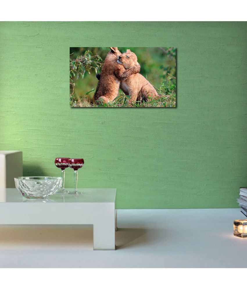 999Store Tiger Hugging Printed Modern Wall Art Painting - Large Size
