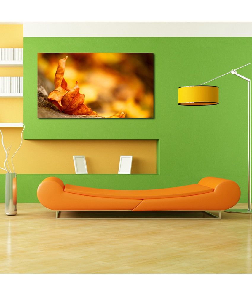 999Store Yellow Leaf Printed Modern Wall Art Painting - Large Size
