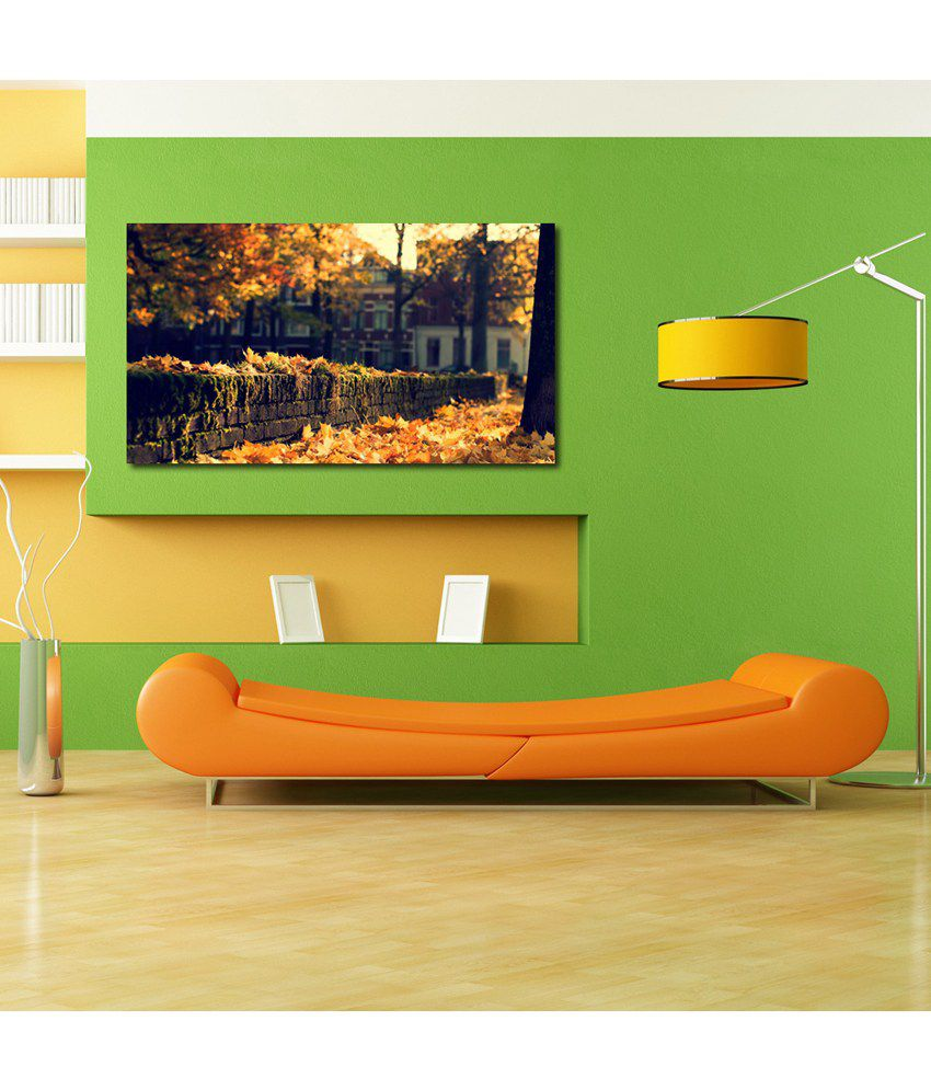 999Store Yellow Leaves At The Wall Printed Modern Wall Art Painting - Large Size