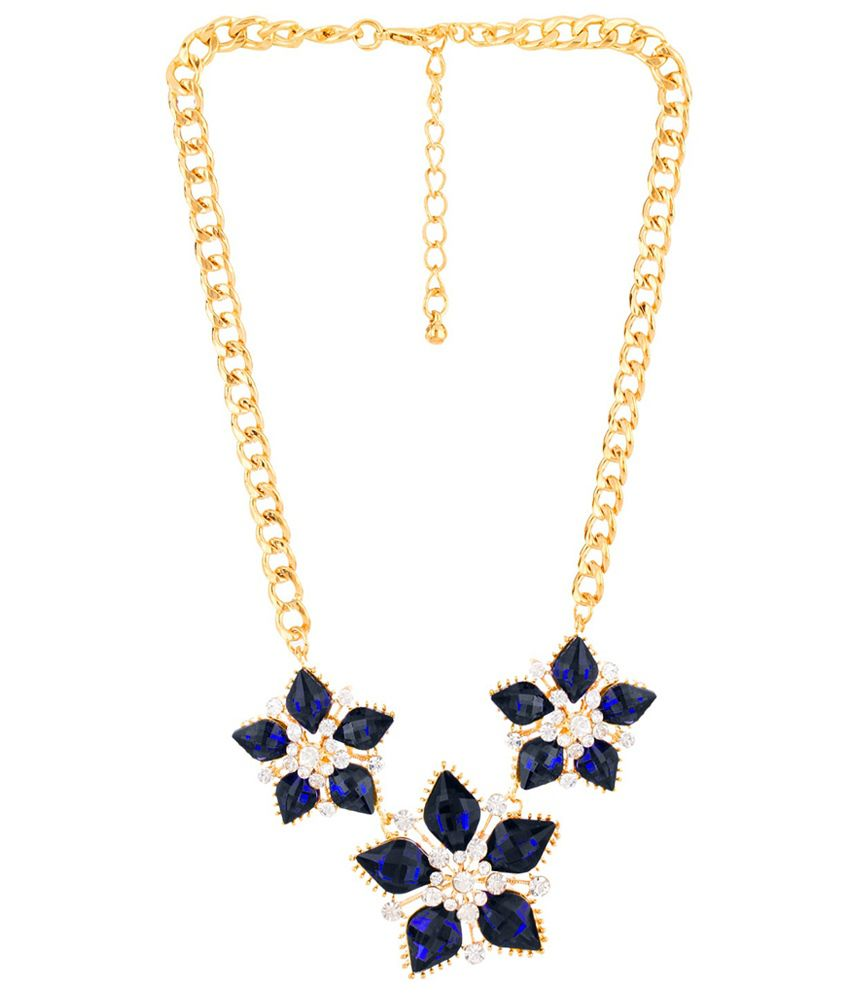 Moedbuille Blue Stone Encrusted Golden Necklace