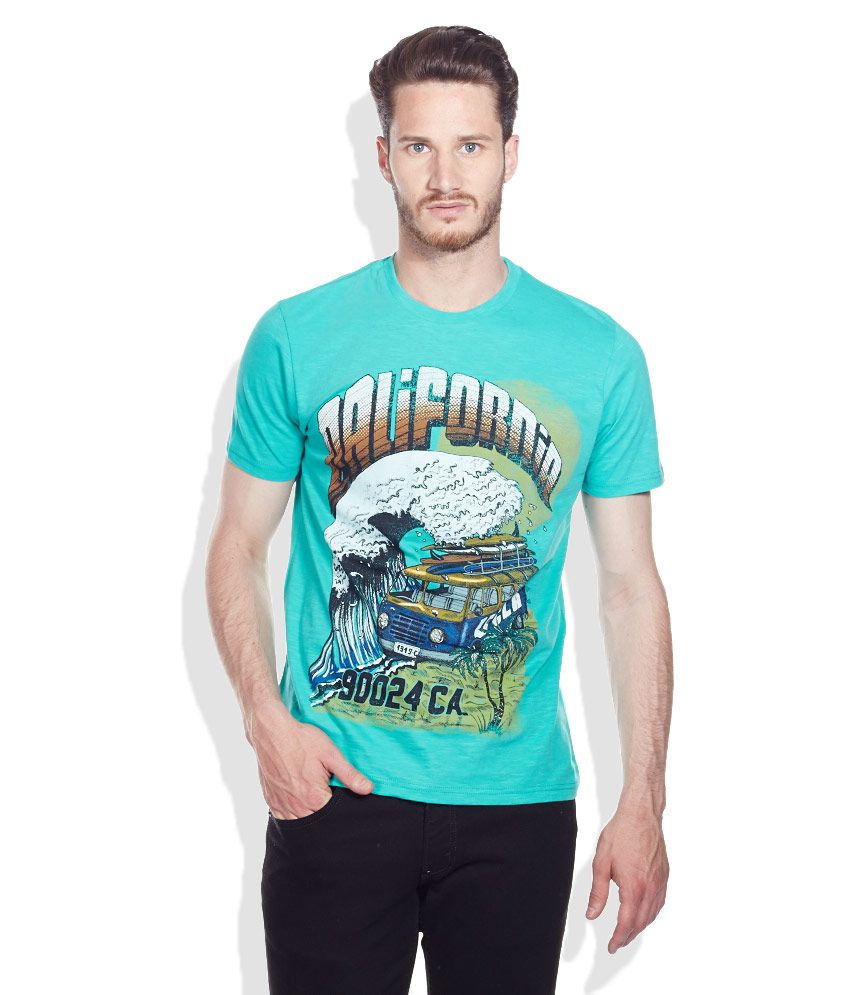 UCLA Green Printed Cotton Round Neck T-Shirt