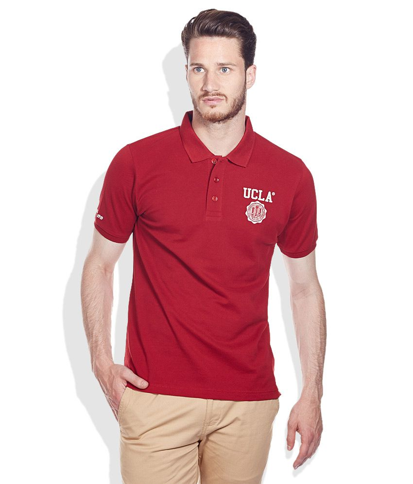01f8860f2 UCLA Maroon Solid Cotton Polo T-Shirt - Buy UCLA Maroon Solid Cotton Polo T- Shirt Online at Low Price - Snapdeal.com