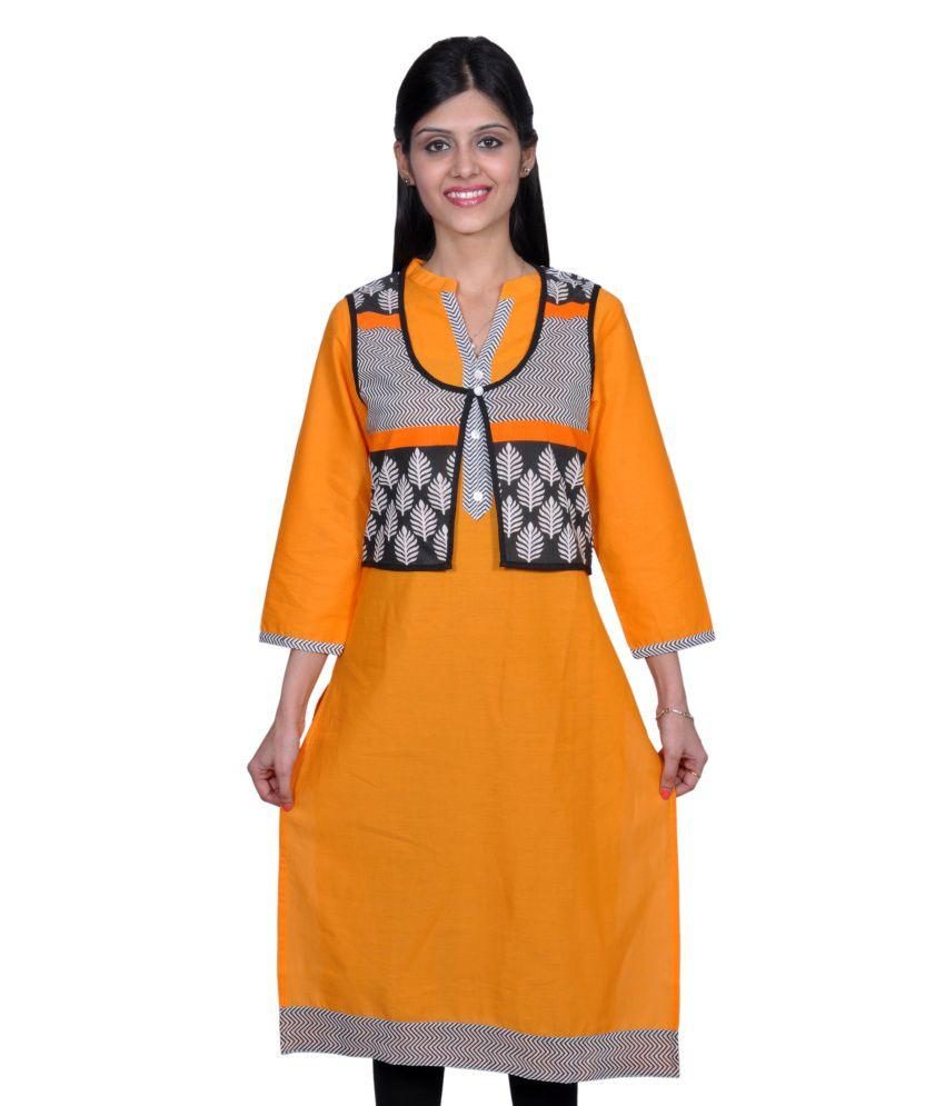 Vasudha Cotton Solid Yellow With Printed Jacket Long Kurti