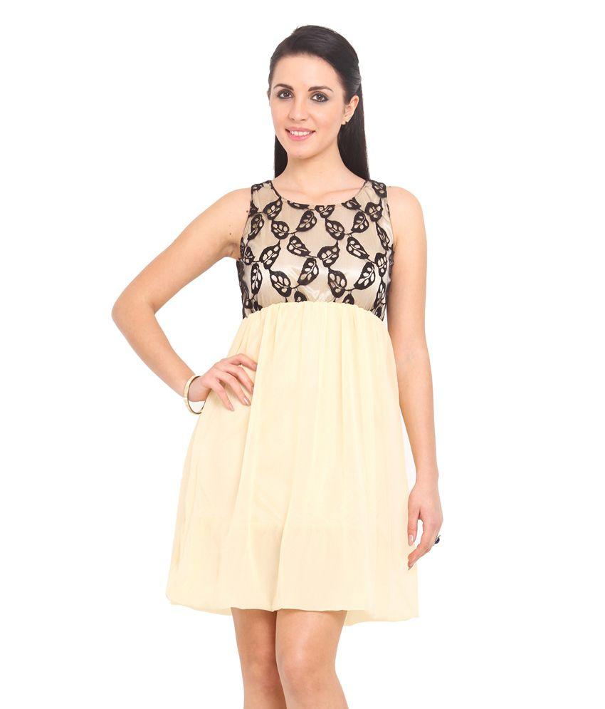 albely cream georgette casual dress buy albely cream