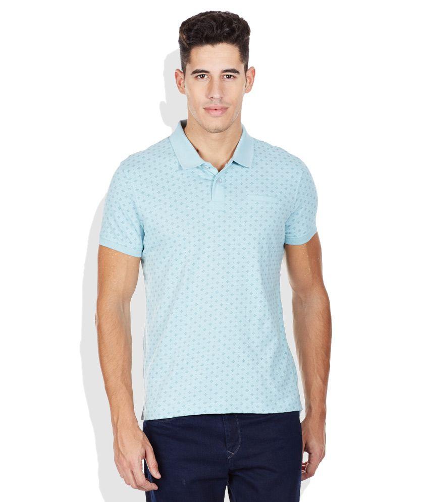 Bossini Blue Printed Polo T Shirt Buy Bossini Blue