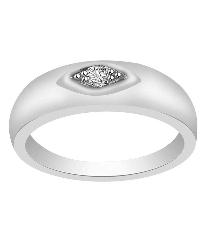 Ciemme 92.5 Silver Single Diamond Band Ring