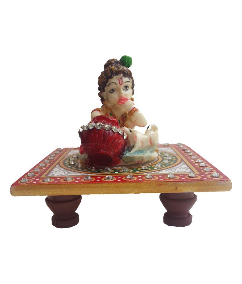 Divinecrafts Red Wooden Krishna Idol & Chowki
