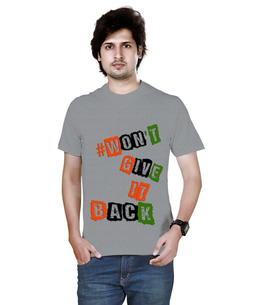 Nesco Gray Cotton Round Neck T Shirt
